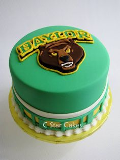 Baylor Bears green and gold birthday cake by C Star Cakes