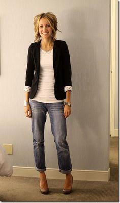knit blazer, boyfriend jeans, sparkle heels, collar necklace