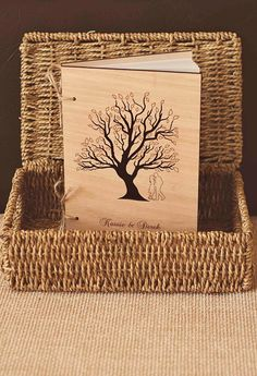 "Custom Wedding guest book wood rustic wedding guest book album bridal shower engagement anniversary- ""Love Tree - Tree of Life"". $40.00, via Etsy."