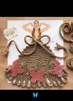 When #arts meet #fashion #robs #butterflies   #creativearts  #dress #design