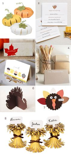 Thanksgiving Place Card Ideas, really cute! via One Charming Party-the turkey would be easy with your paper punch we made the spiders out of-Amanda Burnette! Thanksgiving Birthday Parties, Thanksgiving Favors, Thanksgiving Place Cards, Thanksgiving Projects, Thanksgiving Activities, Thanksgiving Feast, Thanksgiving Decorations, Halloween Party Decor, Diy Party