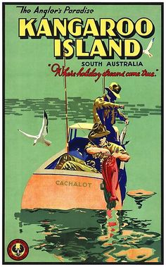 Reproduction of a fully restored vintage travel poster from Kangaroo Island, Australia from 1935. #vintageposters