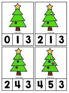 Christmas Tree Counting Clip Cards 1-10 {24HR FLASH FREEBIE}