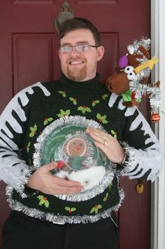 Ugly Christmas Sweater -One for You and One for Your Pet!: 13 Steps (with Pictures) Ugly Christmas Tree, Ugly Christmas Sweater Women, Christmas Sweaters, Christmas Crafts, Christmas Ideas, Merry Christmas, Diy For Kids, Crafts For Kids, Ugly Sweater Party