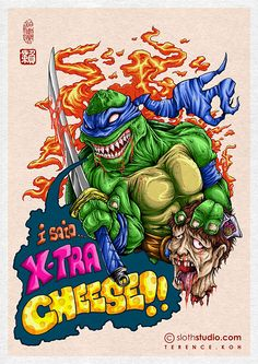 Xtra Cheese! - Leonardo pissed about the constant wrong orders from the pizza takeout. #sloth #slothstudio #terence #koh #art #artwork #illustration #instagram #doodle #draw #drawing #sketch #digital #painting #CG #ninja #turtle #tmnt #pissed #angry #pizza