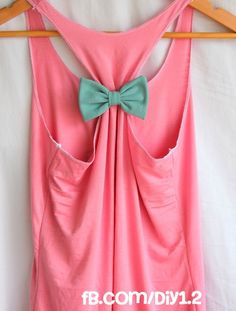 For when I actually exercise. :] Way cute tank made from an oversized tee. With a bow!