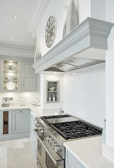 Luxury Kitchen Grey Family Kitchen – Tom Howley - This grey family kitchen is a contemporary take on classic shaker kitchen design, the island caters for all your kitchen dining needs. Kitchen Mantle, Kitchen Chimney, Family Kitchen, Kitchen Paint, Living Room Kitchen, Kitchen Decor, Kitchen Ideas, Kitchen Cabinets, Dining Rooms