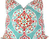 Turquoise and Orange Suzani Decorative Pillow Cover 20x20, Toss Pillow, Throw Pillow