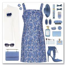 """cornflower"" by rasc2016 ❤ liked on Polyvore featuring Stephanie Johnson, Aquazzura, M2Malletier, MICHAEL Michael Kors, San Diego Hat Co., Nails Inc., HUGO, Emilio Pucci, Elizabeth Arden and Shay & Blue"