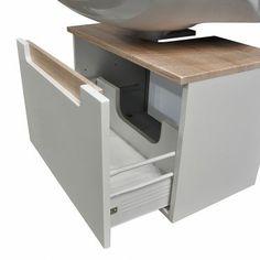 Waschbeckenunterschrank Laris - Hochglanz Weiß/Eiche Sonoma Dekor