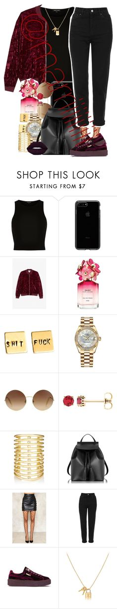 """""""Burgundy"""" by marriiiiiiiii on Polyvore featuring River Island, Monki, Marc Jacobs, Rolex, Victoria Beckham, Jules Smith, Le Parmentier, Lime Crime, Nasty Gal and Topshop"""