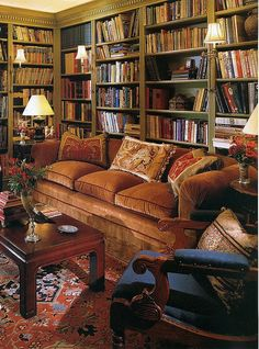 cozy, comfy seating, lots of books, fantastic rug and accessories, green bookcases....♥