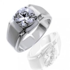 Fathers Day Gifts Bling Jewelry Mens 6 ct Round CZ Solitaire Engagement Ring: Jewelry