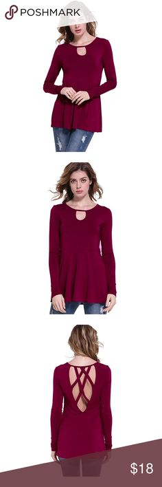 Fit and flare peplum style top Trendy and feminine long sleeve top with key hole detail in front and crisscross design on back. Fit and flare, design at waist. Unique and super soft. Crimson red. Sizes XS and small.  100% viscose. I can measure or try on. These are not tight. Tops Blouses