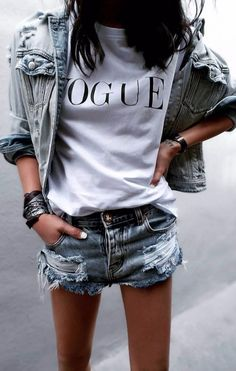 perfect street style outfit denim jacket + t shirt + shorts