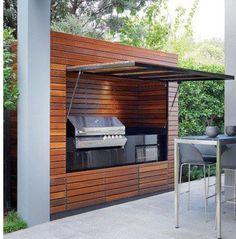 42 Stunning Summer Kitchen Outdoor Ideas - Home - Outdoor Kitchen Modern Outdoor Kitchen, Outdoor Kitchen Bars, Backyard Kitchen, Summer Kitchen, Backyard Patio, Outdoor Kitchens, Parrilla Exterior, Ideas Terraza, Bbq Area