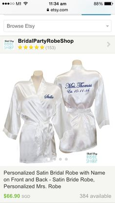 Something Blue Satin Bridal Robe with Name on Front and Bride on the Back  in Blue Rhinestone Crystals - Satin Bride Robe 6b2204303