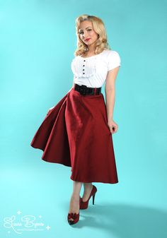 The Doris Skirt in Burgundy by Pinup Couture