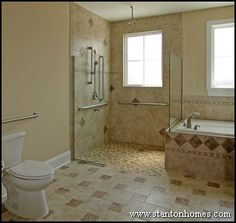 Open design and a no threshold shower along with strategic grab bar placement make this a great UD bathroom