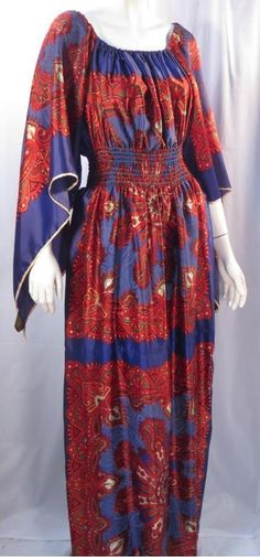 Vintage 60's Boho Hippy Japan Handkerchief Scarf Gypsy Dress *