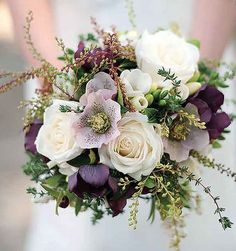 Ivory spray roses, deep purple hellebore, lavender hellebore, lavender, green nagi, and cameilia foliage wrapped in gold ribbon