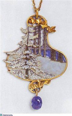 "Rene Lalique ""Winter Scene"" Pendant, 1901"