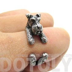 Miniature Schnauzer Shaped Animal Wrap Ring in Silver | size 6