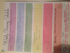 My personal weekly cleaning list! Love it!!