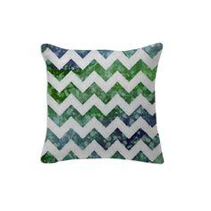 Blue and Green Textured Chevron Pillow