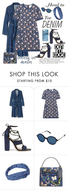 """""""Head to Toe Pretty in Denim"""" by ellie366 ❤ liked on Polyvore featuring Raven Denim, Ashish, Schutz, Oliver Peoples, Valentino, GUESS, DenimDress, embroidered, embellished and alldenim"""