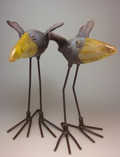 Wildmud Pottery And Sculpture: Two Raku Birds