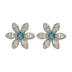 Daisy flower earrings Swarovski Indicolite - Lovett & Co