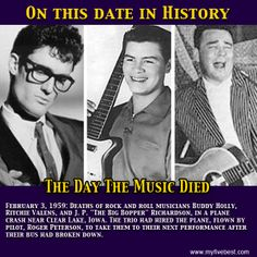 Buddy Holly, Ritchie Valens, and The Big Bopper were killed in a plane crash on… 50s Music, Music Love, Buddy Holly Plane Crash, Popular Music Artists, Ritchie Valens, Rock And Roll History, American Bandstand, Recorder Music, Rock N Roll Music