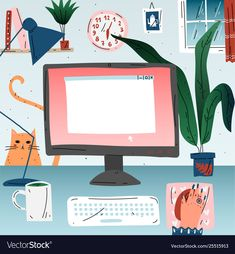 Workplace with computer at home office workspace Vector Image , Kids Vector, Free Vector Images, Vector Free, Abc Font, Travel Symbols, Brand Magazine, Computer Drawing, Watercolor Heart, Vector Portrait
