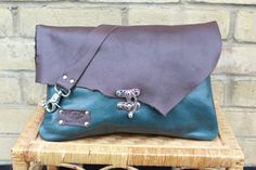 Leather handbag - Leather Clutch Bag - Italian leather Chocolate and Emerald colour - long strap and chain - metal hook by Valentina. by ValePLondonLeather on Etsy