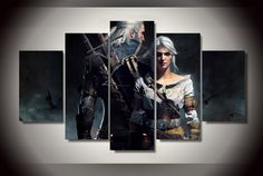 High Quality Rushed Wall Art Pictures Unframed The Witcher Geralt And Ciri Oil Painting On Canvas Fashion Home Decoration
