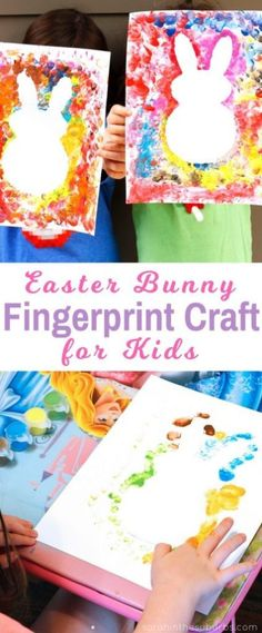 Easter bunnies are so cute and perfect for the spring season! Let your kids make their own Easter bunny fingerprint craft with this easy DIY tutorial. basteln ostern kinder Simple Finger Paint Easter Craft - Sarah in the Suburbs Bunny Crafts, Easter Crafts For Kids, Toddler Crafts, Preschool Crafts, Easter With Kids, Easter Crafts For Preschoolers, Crafts With Babies, Easter Activities For Kids, Science Crafts