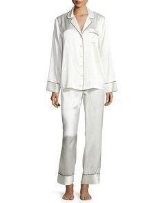I1CMR Neiman Marcus Silk Satin Two-Piece Pajama Set