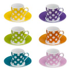 Festive Expresso Cups White Polka Dot Rainbow Colors - That This & The Other