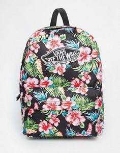 5d26535e29a47 Image 1 of Vans Realm Backpack in Black Hawaiian Print Asos