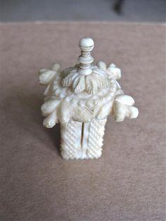 Antique Bovine Bone Tape measure-Shape of a Pagoda £34