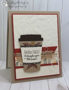"""Stampin' Up! Merry Cafe, Coffee Cups Framelits, Layered Leaves Dynamic TIEF, Banner Triple Punch, 5/8"""" (1.6 Cm) Burlap Ribbon, Linen Thread – Stamp With Amy K – Amy Koenders"""