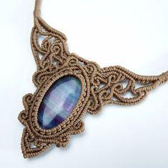 Macrame Necklace Pendant Cabochon Fluorite stone Cotton Waxed Cord Handmade #Handmade #Wrap