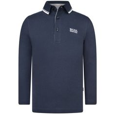 BOSS Boys Navy Long Sleeve Pique Polo Shirt
