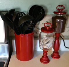 #red#kitchen#canisters#diy