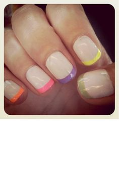 Love the french with neon pastel tips, I would use one color but I am not too funky :)