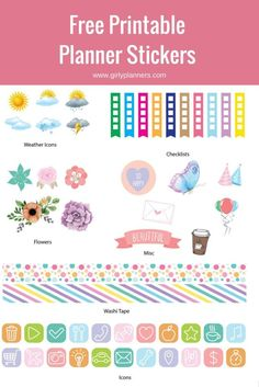 Free printable stickers for your planner or bullet journal. Includes weather, checklists, flowers, washi tape, functional icons, birthday {email address required}