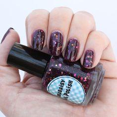 Glitter jelly nail polish Purple Heart via Etsy