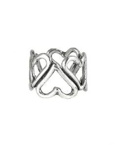 Oxidized Silver Hearts