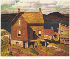 Hand painted reproduction of House at Parry Sound. This masterpiece was painted originally by A J Casson. Museum quality handmade oil painting reproduction oil painting on canvas. Group Of Seven Artists, Group Of Seven Paintings, Emily Carr, Canadian Painters, Canadian Artists, Tom Thomson Paintings, Ontario, Building Art, Building Painting
